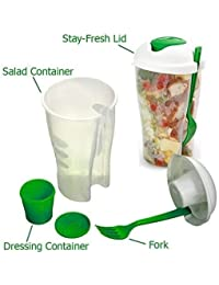 Take 2 Pack Fresh Salad To Go Portable Shaker Container Set with Reusable Fork and Dressing Holder Healthy Fresh Lunch... saleoff