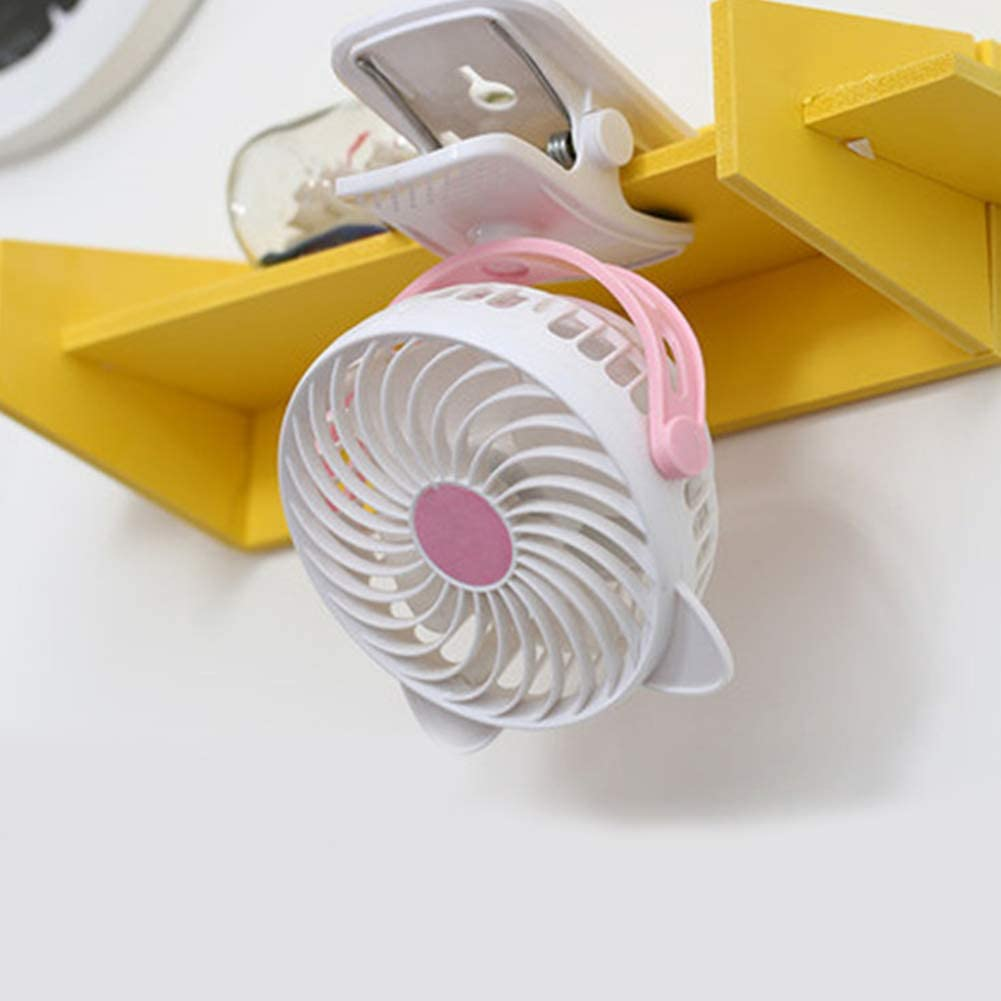 AKDSteel Portable Mini USB Charging Mute Fan for Home Office Dormitory Desktop Pink Charging