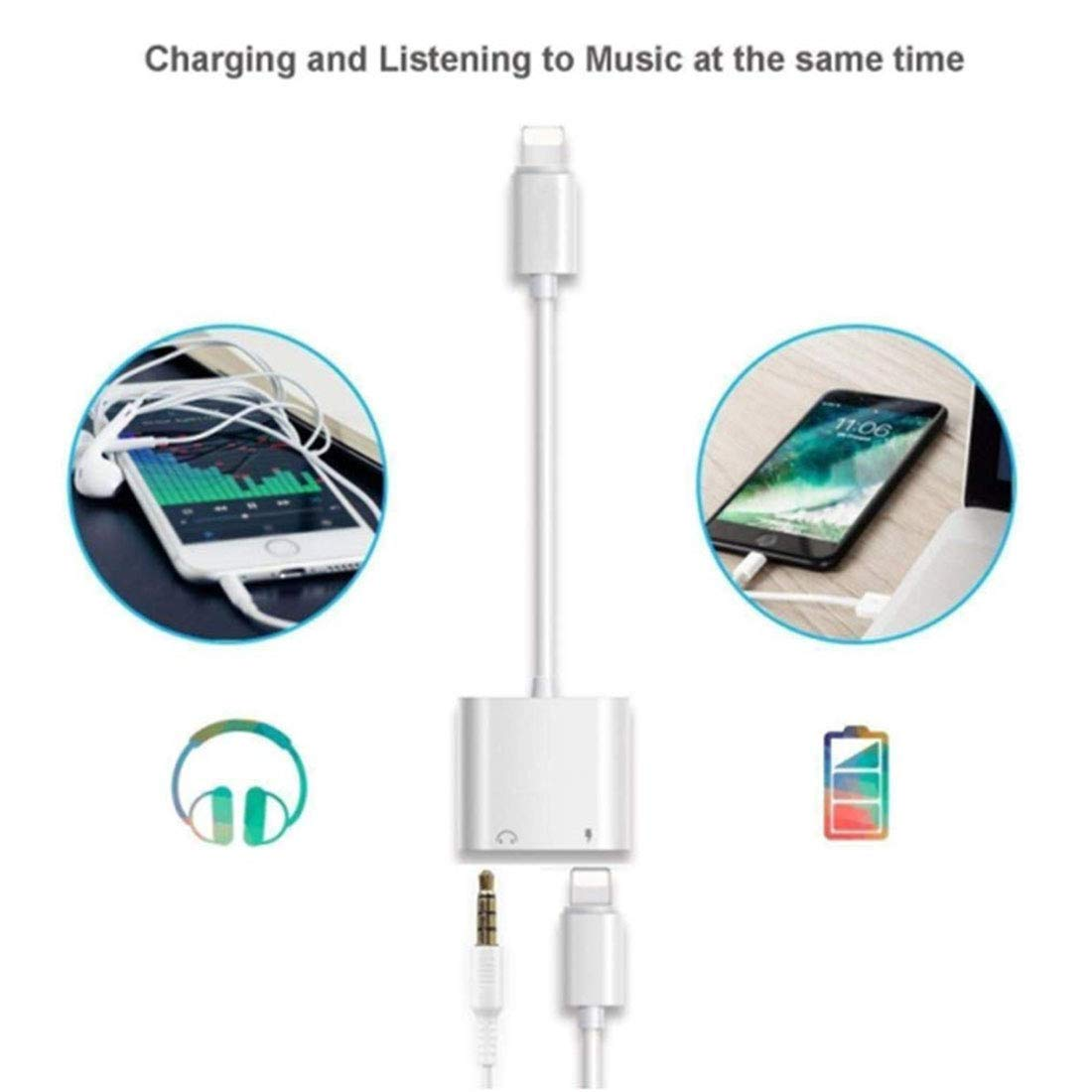 Headphone Jack Adapter for iPhone Xs//Xs Max//XR// 8//8 Plus Audio Support All iOS System 7//7 Plus Splitter for Music Call Car Charger Line Control Compatible 2 in 1 Music Charger Cables Charge