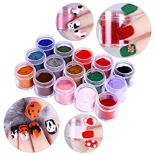 NICOLE DIARY 15 Boxes Velvet Nail Glitter Fuzzy Flocking Colorful Nail Art Tips Halloween Christmas Nail Design (Halloween Nail Designs Red And Black)