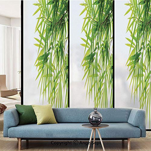 (AngelSept Window Films,Bamboo Leaf Illustration Icon for Wellbeing Health Fresh Purity Tranquil Art Print,W15.7xL63in,Privacy Decorative Glass Film,Green White)