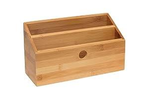 "Lipper International 808 Bamboo Wood 2-Slot Office Supply Desk Organizer, 10 3/4"" x 4 1/8"" x 6"""