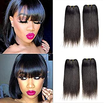 Amazon Com 8 Inch Sew In Sensationnel Straight Human Hair Extensions Short Weave Straight 9a Brazilian 100 Human Hair Straight Virgin Hair Natural Black 8inch 4pc Beauty