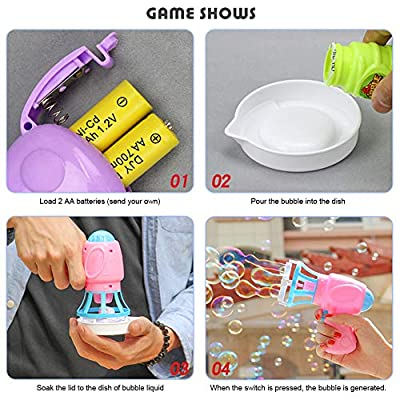 2pcs Bubble Machine For Kids Automatic Bubble Blower Electric Bubble Gun For Kids Summer Toy Outdoors Activity(No Bubble Refill Solution No Battery Random Color): Toys & Games