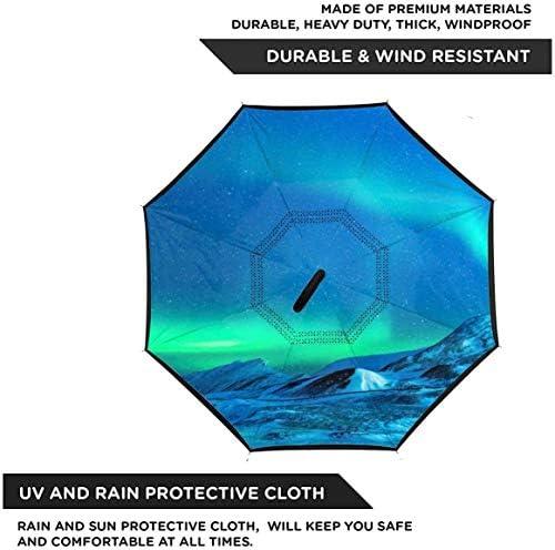 Aurora ユニセックス二重層防水ストレート傘車逆折りたたみ傘C形ハンドル付き