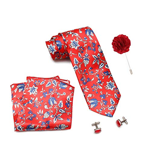 Axlon Men Formal/Casual Printed Satin Neck Tie Pocket Square Accessory Gift Set with Cufflinks and Brooch Pin – Red (Free Size, ltr_829)