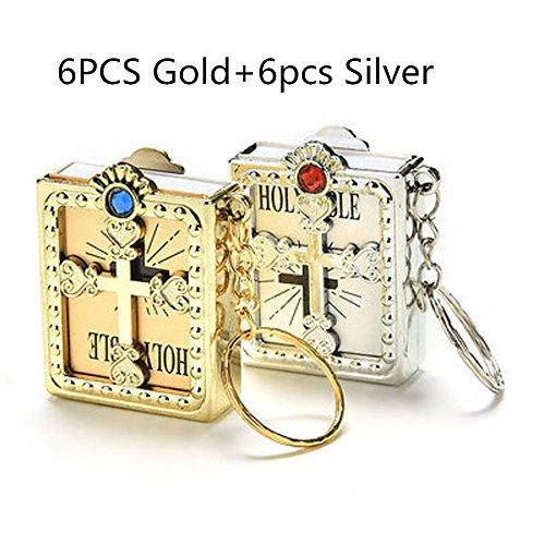 Miniature Bible - JUMUU Holy Bible Keychain-Mini Holy Bible Key Chain Christian Jesus Miniature Keychain Keyring - English (Gold+Silver)