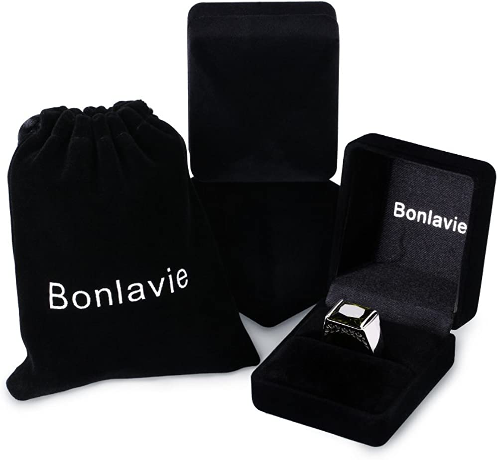 Bonlavie Luxe Bague Homme Anneau en Argent Sterling 925 Pierre 10.55ct en P/éridot Naturelle Vert bijoux /à la mode