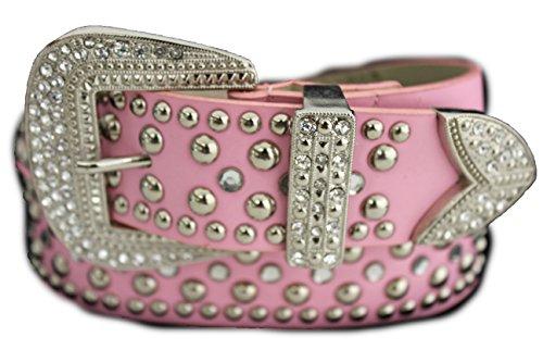 Fashion Belt Big Metal Buckle Studs Beaded Rhinestones S M L Light Pink (S/M 30