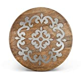 Heritage Wood Metal Inlay Lazy Susan