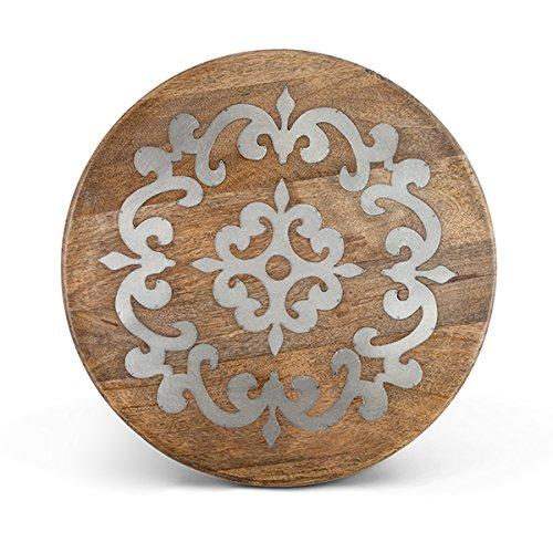 (Heritage Wood Metal Inlay Lazy Susan)