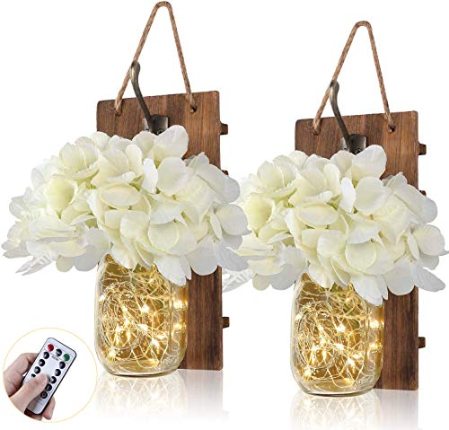 Anpro Rustic Wall Sconces,Mason Jar Lights, Rustic Home Decor with Wrought Iron Hooks, Silk Hydrangea and LED Strip Lights Design for Home Decoration(Set of 2)
