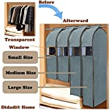 Didadi Moisture, Mildew, Dust Resistant Cloth Care Hanging Bag. Transparent Garment Clothing Organizer in Wardrobe. Storage Dust Protector Cover with Zipper [Large] Size Picture