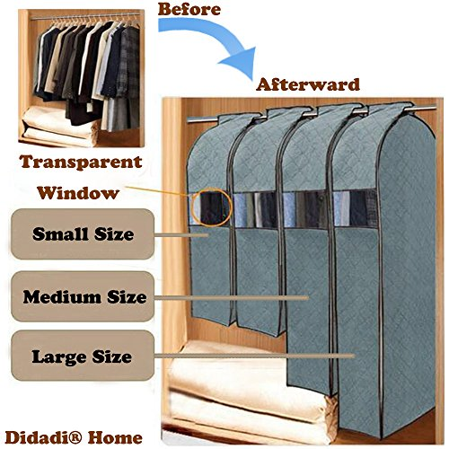 Didadi Moisture, Mildew, Dust Resistant Cloth Care Hanging Bag. Transparent Garment Clothing Organizer in Wardrobe. Storage Dust Protector Cover with Zipper [Small] Size