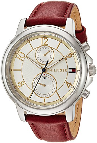 Tommy Hilfiger Women's Sophisticated Sport Stainless Steel Quartz Watch with Leather Strap, red, 18 (Model: 1781816)