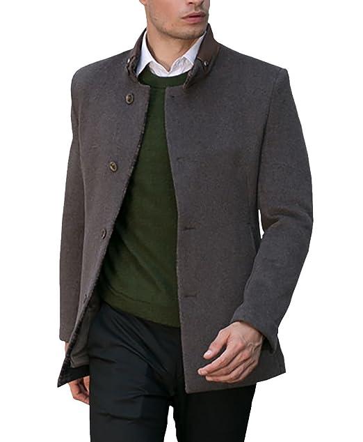 Uomo Cappotto Cappotti da Uomo Signori Ragazzi Caloroso Invernale Giacche  di Lana Singolo Breasted Wool Blend faee9b0b0a6