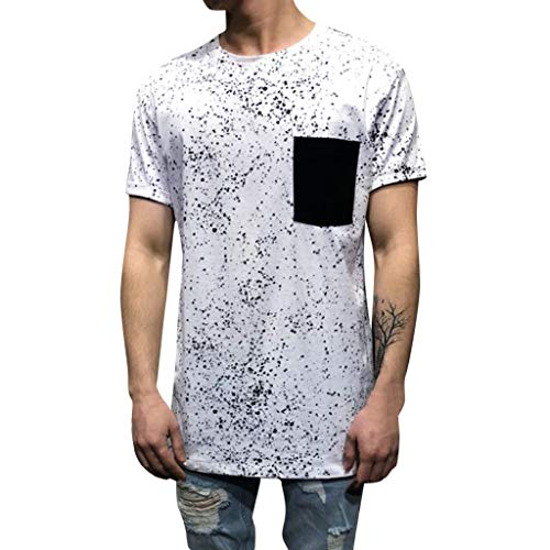 - iHPH7 T-Shirts Pocket Print Short Sleeve T-Shirt Top Blouse Mens Fashion Casual Basic Short Sleeve Henley XXXL White