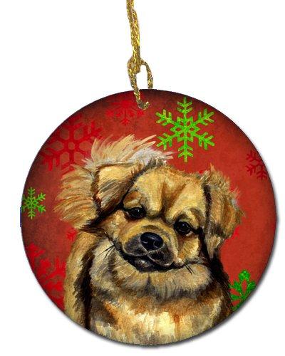 Caroline's Treasures LH9349-CO1 Tibetan Spaniel Red Snowflake Holiday Christmas Ceramic Ornament, Multicolor