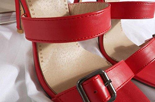 Beauqueen Botas de tobillo Bombas Gladiator Open-Toe Stiletto medio talón Summer Wedding Party Vintage Sandalias Personalizado a medida de Europa Tamaño 32-46 Black