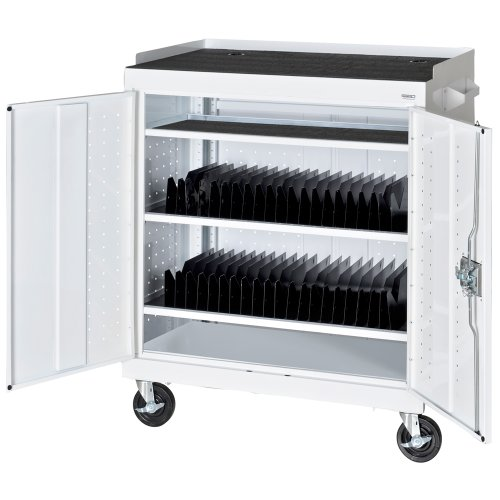 Sandusky MTS362437-22 White Mobile Tablet Storage Cart, 3 Shelves, Recessed Paddle Lock Handle, 43'' Height x 36'' Width x 24'' Depth by Sandusky