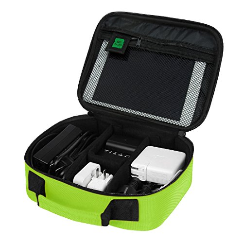 BAGSMART Electronics Travel Organizer Bag Hard Drive Case for Various USB, Phone, Cable, Charger, Fluorescent Green