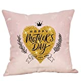 Happy Mother's Day Pillow case,EOWEO Happy Mother's Day Pillow Case Sofa Bed Home Decoration Festival Cushion Cover(45cm×45cm,Multicolor-C)