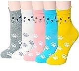 Chalier 5 Pairs Womens Cute Funny Socks Casual Cotton Crew Animal Socks