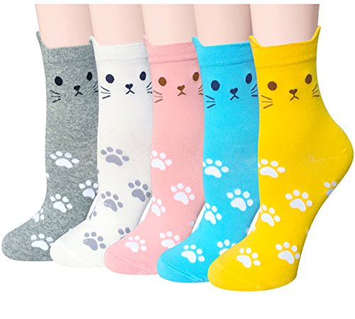 Chalier 5 Pairs Womens Cute Funny Socks Casual Cotton Crew Animal Socks ()