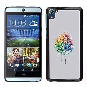 YiPhone /// Prima de resorte delgada de la cubierta del caso de Shell Armor - Psychedelic Rainbow Lion - HTC Desire D826
