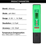 KKmoon Water Quality Analysis Device Professional & Power-saving pH-006 Pen-Type pH Meter High Precision with Automatic Temperature Compensation ATC Function Auto Calibration and Backlight LCD