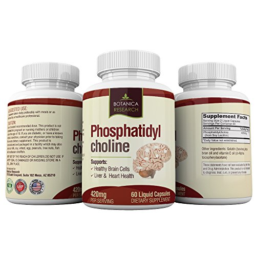 PhosphatidylCholine Complex An All-Natural Nootropic Formula For Brain Health, Liver & Cognitive Support – 60 Phosphatidyl Choline Capsules by Botanica Research