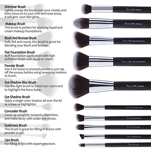 beauty Lally Professional Make Up Brush Set, Synthetic ...