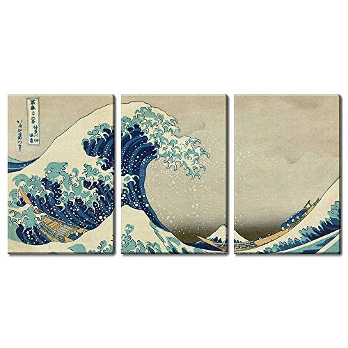 wall26 3 Panel World Famous Painting Reproduction on Canvas Wall Art - The Great Wave Off Kanagawa by Hokusai - Modern Home Decor Ready to Hang - 16