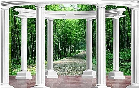 Wapel Papel Tapiz 3D Modernas Columnas Romanas De Bambú Mural Fotográfico Papel Tapiz De Fondo De Pared En La Decoración Del Hogar Tela de seda 250x175CM: Amazon.es: Bricolaje y herramientas