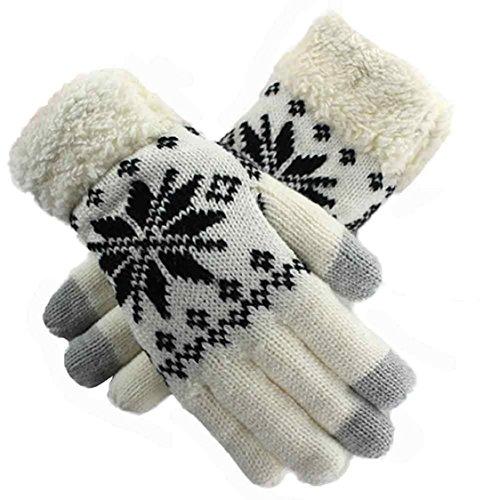 Ikevan Women's Winter Gloves Touch Screen Warm Knit Wool Gloves (Womens Snow Walker)