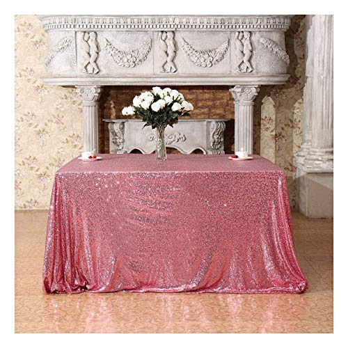- Poise3EHome 50x50 Square Sequin Tablecloth for Party Cake Dessert Table Exhibition Events, Fuchsia Pink