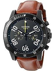 Nixon Mens A940712-00 Ranger Chrono Leather Analog Display Quartz Gold Watch