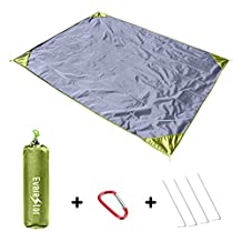 "Everestor Outdoor Picnic Beach Blanket 79""×59""Oversized Foldable Durable Lightweight(0.8LBs) Portable Compact Sand Proof Mat Water Proof Blanket with Oxford Fabric Nylon Materials for All Season Weather Travel Hiking Camping Park Festival"