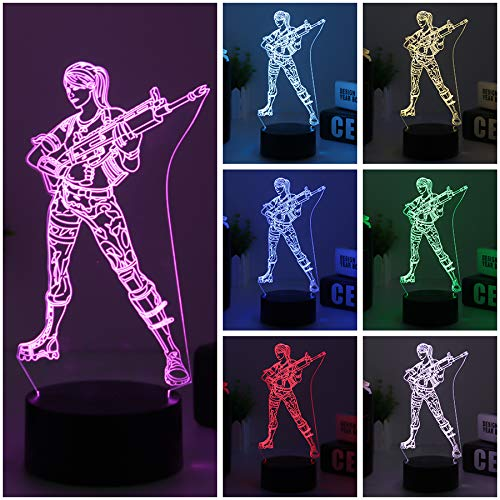 3d Fortress Battle Royale LED Lamp Lights Changeable USB Touch Lampada 3D Visual Bulbing lampen Children's Room Decor Holiday Light (black Fortress gun) by HOOFUN (Image #4)