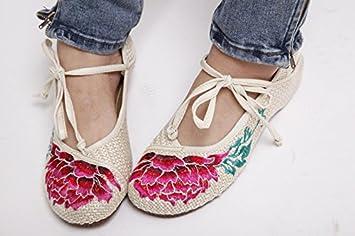 YQQ Bestickte Schuhe, Sehnensohle, ethnischer Stil, Femaleshoes, Mode, bequem , blue , 38