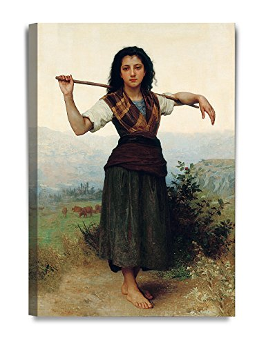 Bouguereau Canvas Art - DecorArts - The Shepherdess by William-Adolphe Bouguereau, The World Classic Art Reproductions. Giclee Canvas Prints Wall Art for Home Decor 20x30