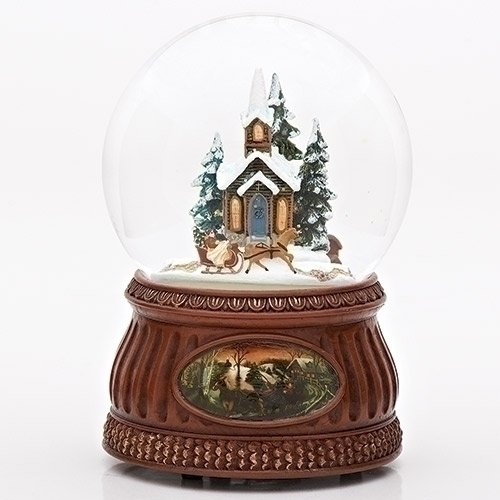 Set of 2 Brown and Clear Animated and Musical Church with Sleigh Ride Christmas Domes 6.5'' by Roman (Image #2)