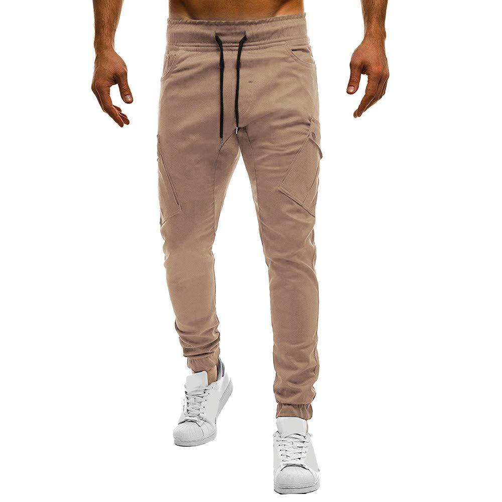 Teresamoon Fashion Men's Sport Pure Color Bandage Casual Loose Sweatpants Drawstring Pant Teresamoon-Pants