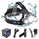 DABASO Rechargeable Headlamp,Adjustable Headband and 90 Degree Moving Light,8000 Lumen Waterproof LED Headlight with 4 Brightness Modes for Running Camping Cycling Fishing Hunting Climbing