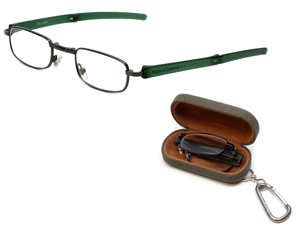 Field & Stream Designer Folding Reading Glasses RFL1 in Gunmetal & Green 49mm +2.50