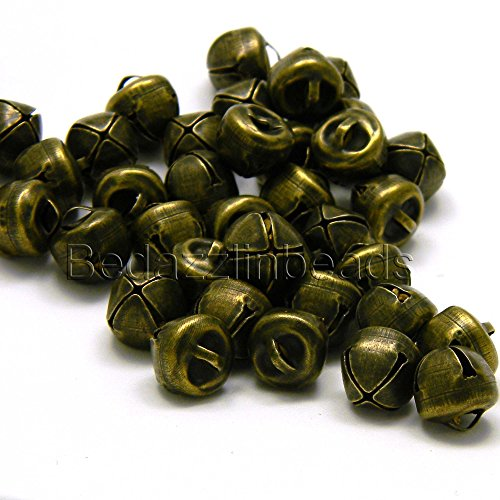 (50 Round 10mm 3/8 inch Iron Craft Jingle Bells With Loop to Use as Dangle Charms (Antique Bronze) )