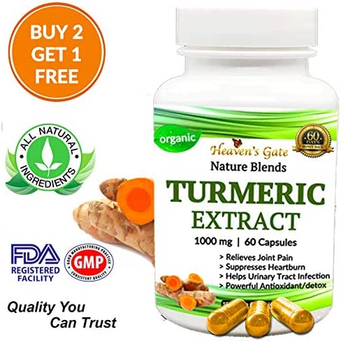 Turmeric 95% Curcumin with Black Pepper for Faster Absorption - Extra Strength Joint Pain Relief -.Anti-INFLAMMATORY, ANTIOXIDENT Supplement - All Natural - Non-GMO - 60 Capsules