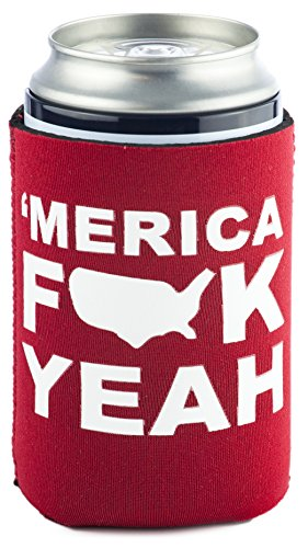 Funny Guy Mugs Merica Fck Yeah Collapsible Neoprene Can Coolie - Drink Cooler