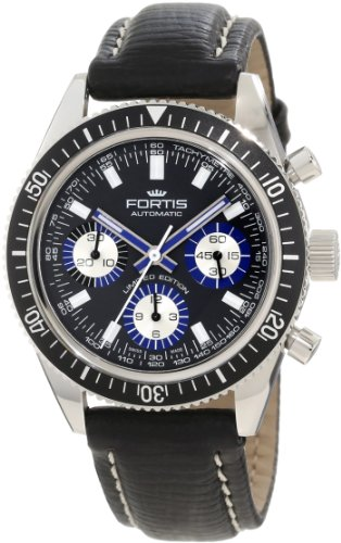Fortis Men's 800.20.85 L.01 Marinemater Black Automatic Chronograph Leather Watch
