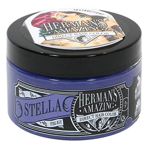 Herman's Amazing Vegan Semi-Permanent Direct Hair Color Dye (4oz) Stella Steel Blue